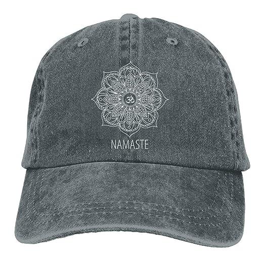 59d4a166cc813 Cool Baseball Cap Namaste with Lotus Flower Denim Men Great Unisex ...