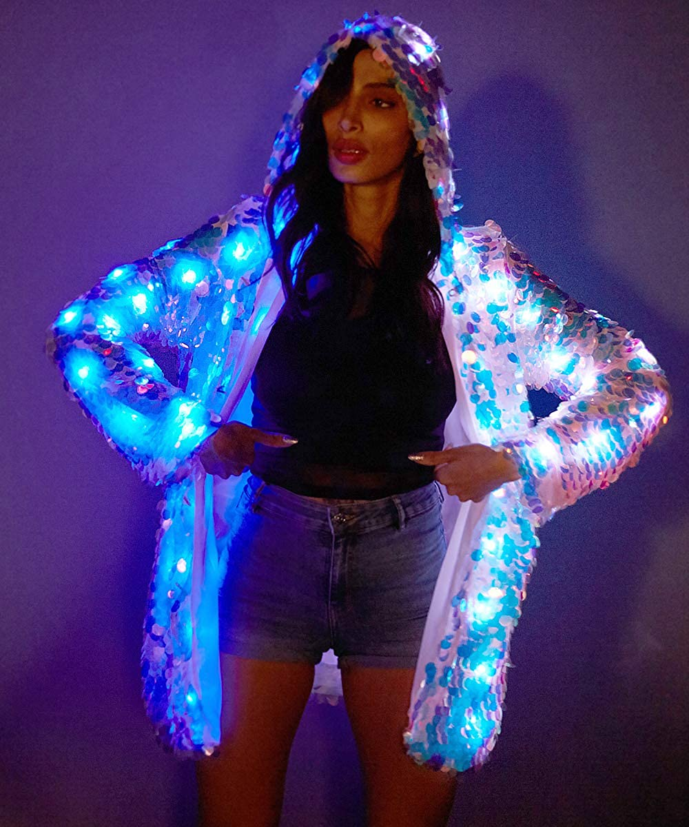 Niwota Womens LED Sequin Flash Jacket Light UP Rave Creative Outwear Stage Costume Xmas Party Fancy Dress