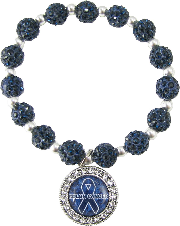 Amazon Com Sports Accessory Store Colon Cancer Awareness Survivor Blue Ribbon Crystal Jeweled Bead Bracelet Gift Jewelry