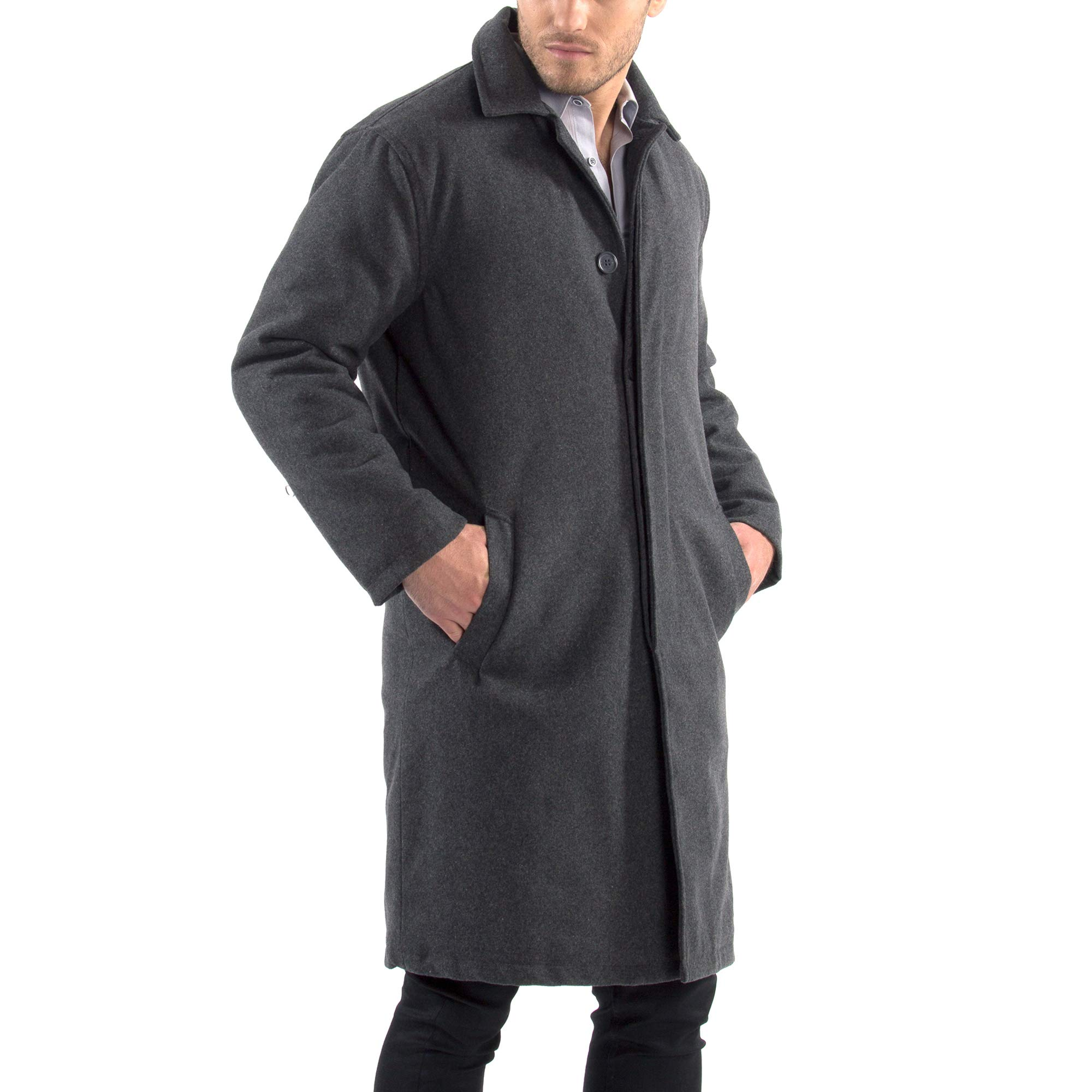 Lavnis Mens Cotton Blend Jacket Casual Stand Collar Single Breasted Trench Overcoat Style 2 Dark Blue M