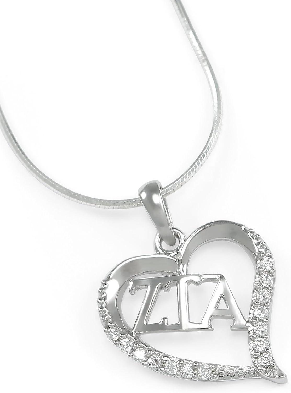 The Collegiate Standard Zeta Tau Alpha Sterling Silver Heart Pendant Set with CZs