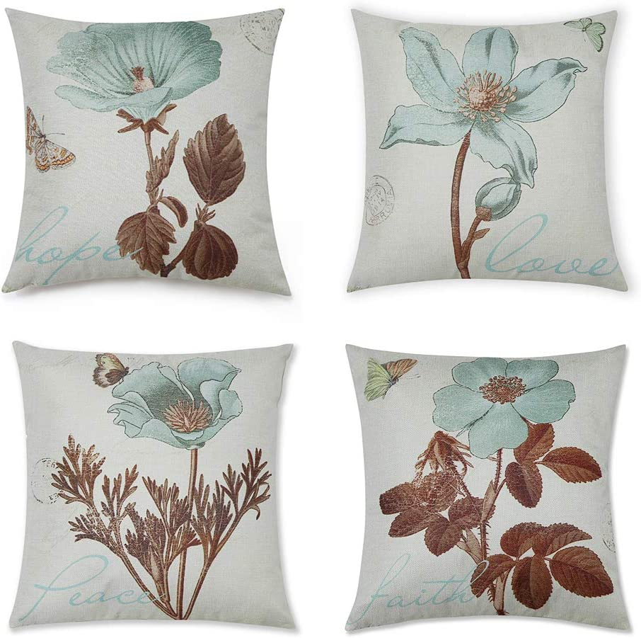 DUSEN Decorative Plant Flower Throw Pillow Covers for Couch, Sofa, or Bed Set of 4 18 x 18 inch Modern Quality Design Cotton Linen Cusion Cover (Flower 1)…