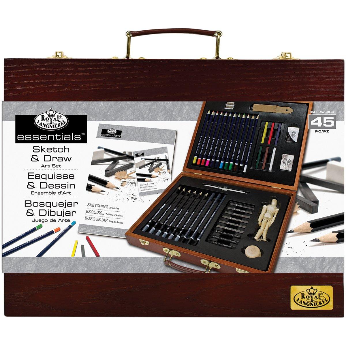 Royal & Langnickel Essentials, set per artisti da 45 pezzi in scatola di legno, per schizzi e disegni set per artisti da 45pezzi in scatola di legno Royal Brush RSET-DS2030