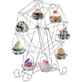 INTEY Silver Cupcake Stand, Ferris Wheel Cupcake Stand, Dessert Server for Carnival, Birthdays, Weddings and Party, 8 Cupcakes