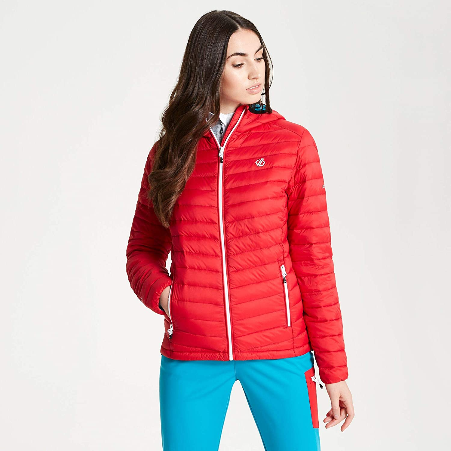 Dare 2b Womens Elative Premium Duck Down Fill Water Repellent Packaway Hooded Active Winter Jacket With Zipped Lower Pockets and Adjustable Fit
