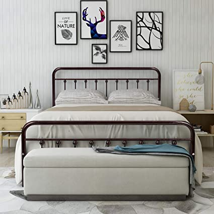 Amazon.com: HOMERECOMMEND Metal Bed Frame Queen Size Steel Slats