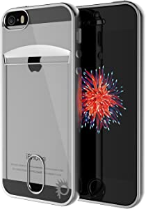 iPhone SE / 5S / 5 Case, PUNKcase [Lucid Series] Slim Fit Protective Armor Cover w/Scratch Resistant PUNKSHIELD Screen Protector-Card Slot Design for Apple iPhone SE/iPhone 5s & iPhone 5 [Silver]