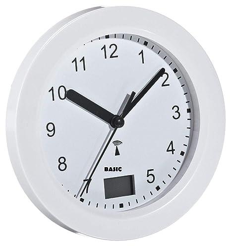 Basic Clock Funk Badezimmeruhr Mit Temperaturanzeige Amazon De