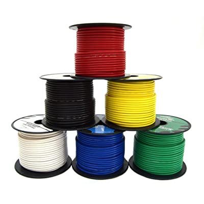 14 GA Single Conductor Stranded Remote Wire 6 Rolls Primary Colors 12V 100FT EA