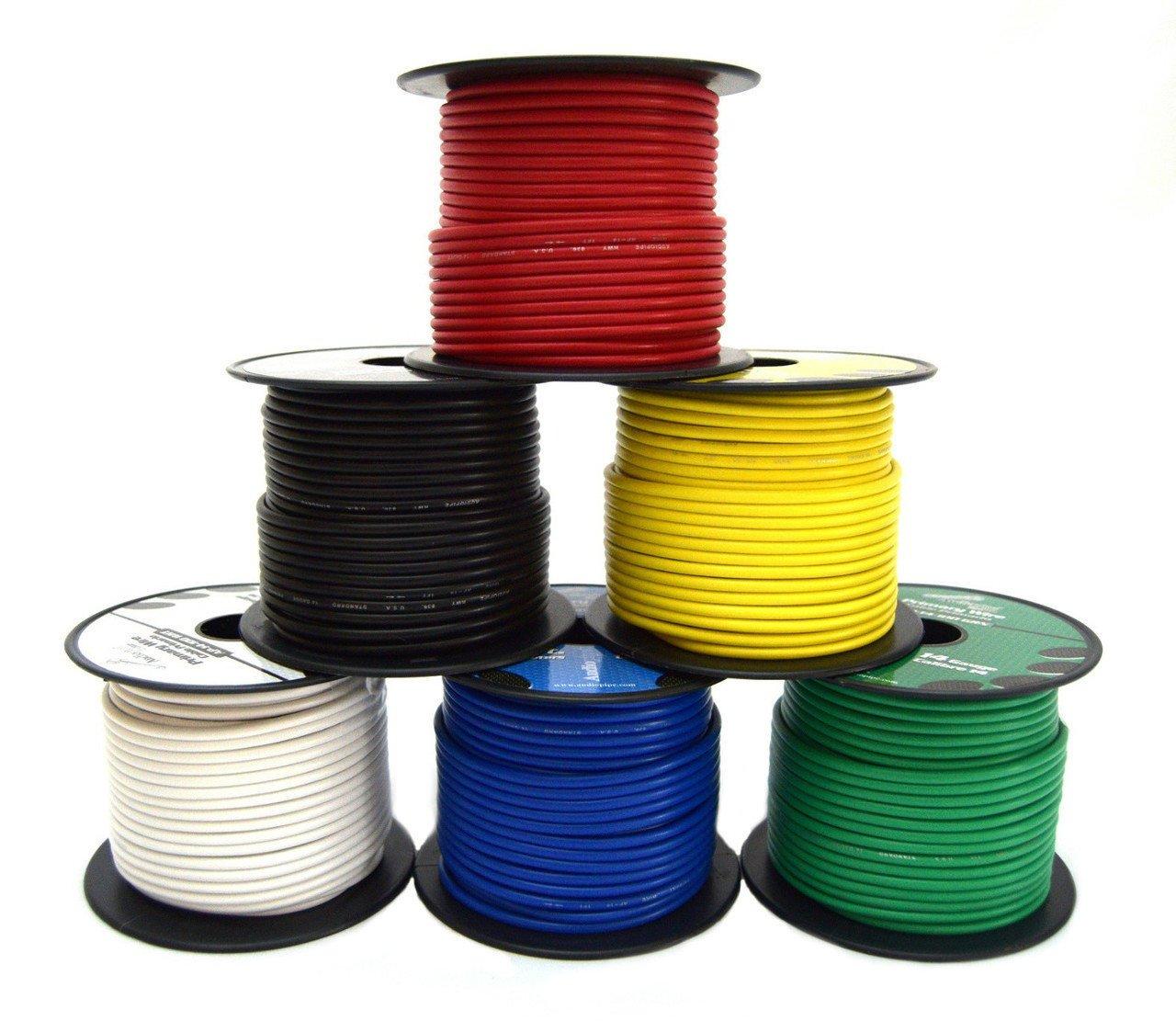 14 GA Single Conductor Stranded Remote Wire 6 Rolls Primary Colors 12V 100'FT EA