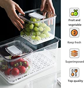 Refrigerator Food Storage Containers,Stackable Refrigerator Organizer Keeper with lids and drain pans, Produce Saver to store Fruits,Berry,Veggie and Other Food.(2S+XL)