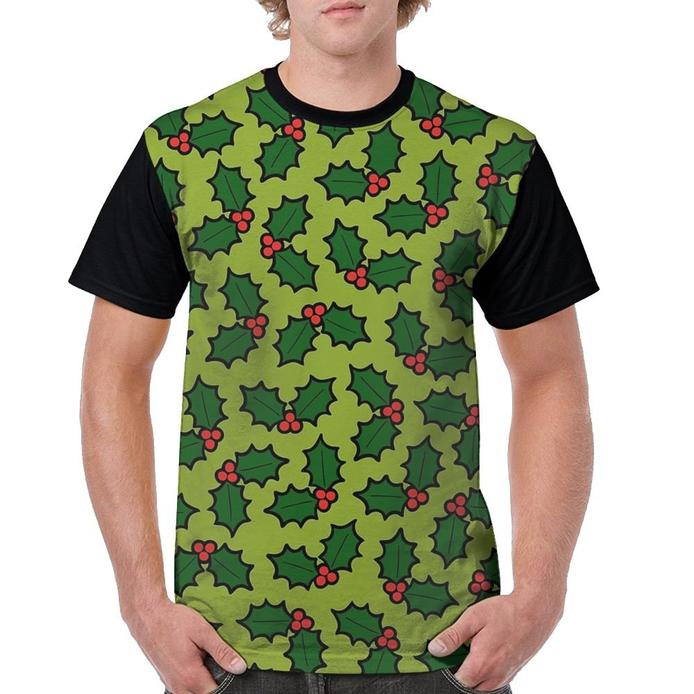 CKS DA WUQ Holly Leaves and Berries Pattern In Light Green Men's Raglan Short Sleeve Tops T-Shirt Fashion Undershirts Baseball Tees