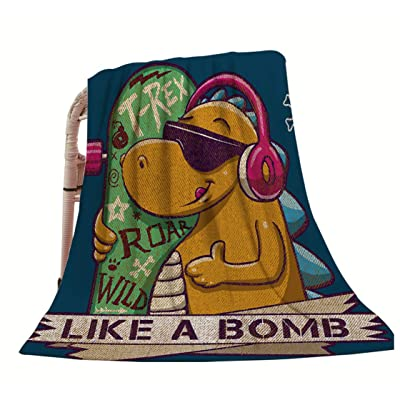 "HGOD DESIGNS Dinosaur Throw Blanket,Funny Cartoon Cool Skater Dinosaur with Quote Like A Bomb Soft Warm Decorative Throw Blankets for Adults Kids Women Men Girls Boys,40""X50"": Home & Kitchen"