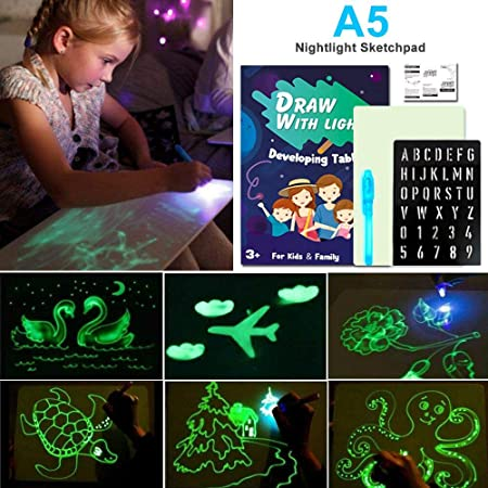 Planche /à Dessin /éducative pour Les Enfants. Draw with Light Fun et Developing Toy Drawing Board Drawing Magic Draw Vert, A3