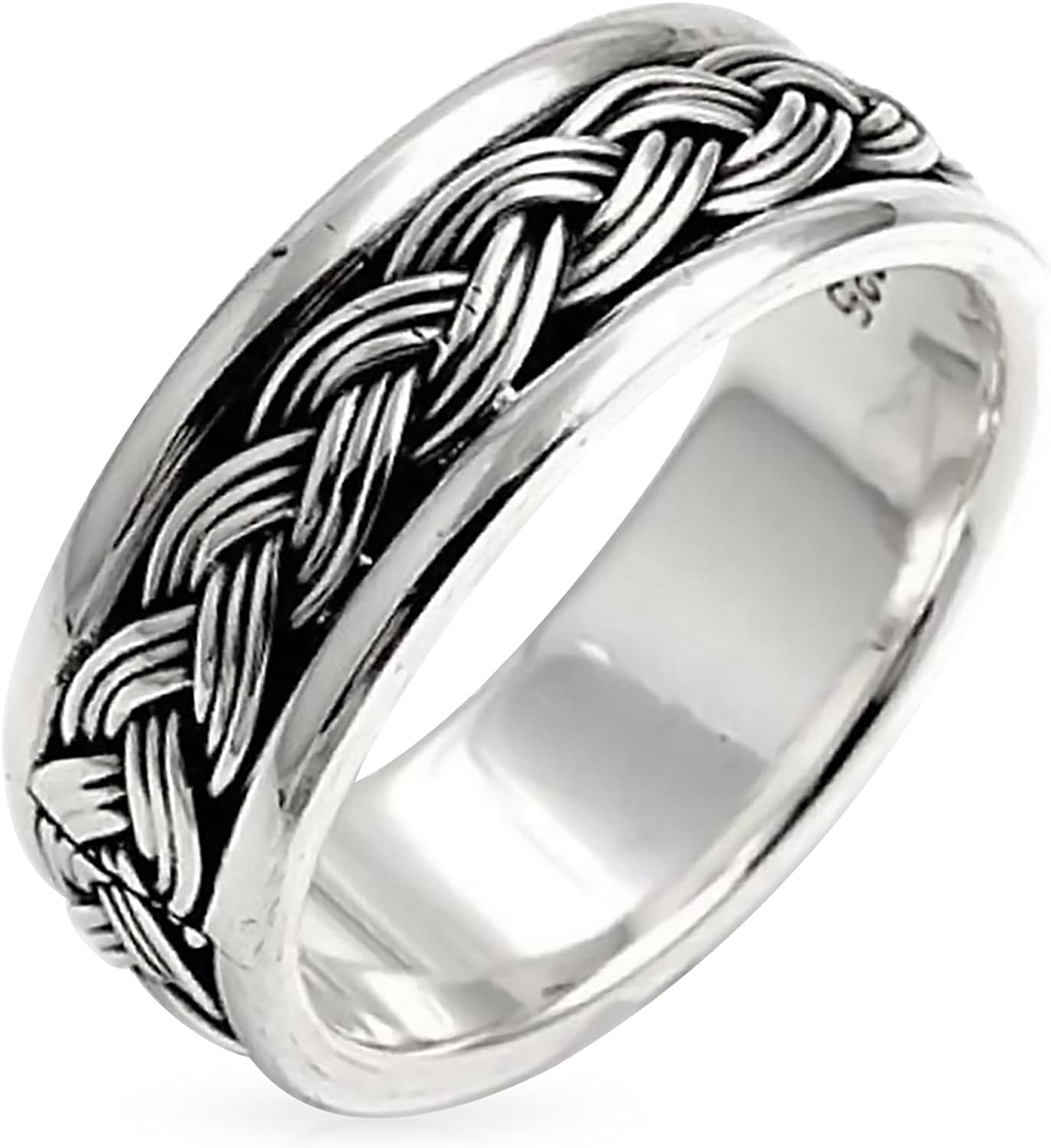 Buy For Less Oxidized 925 Sterling Silver Braided Spinner Ring