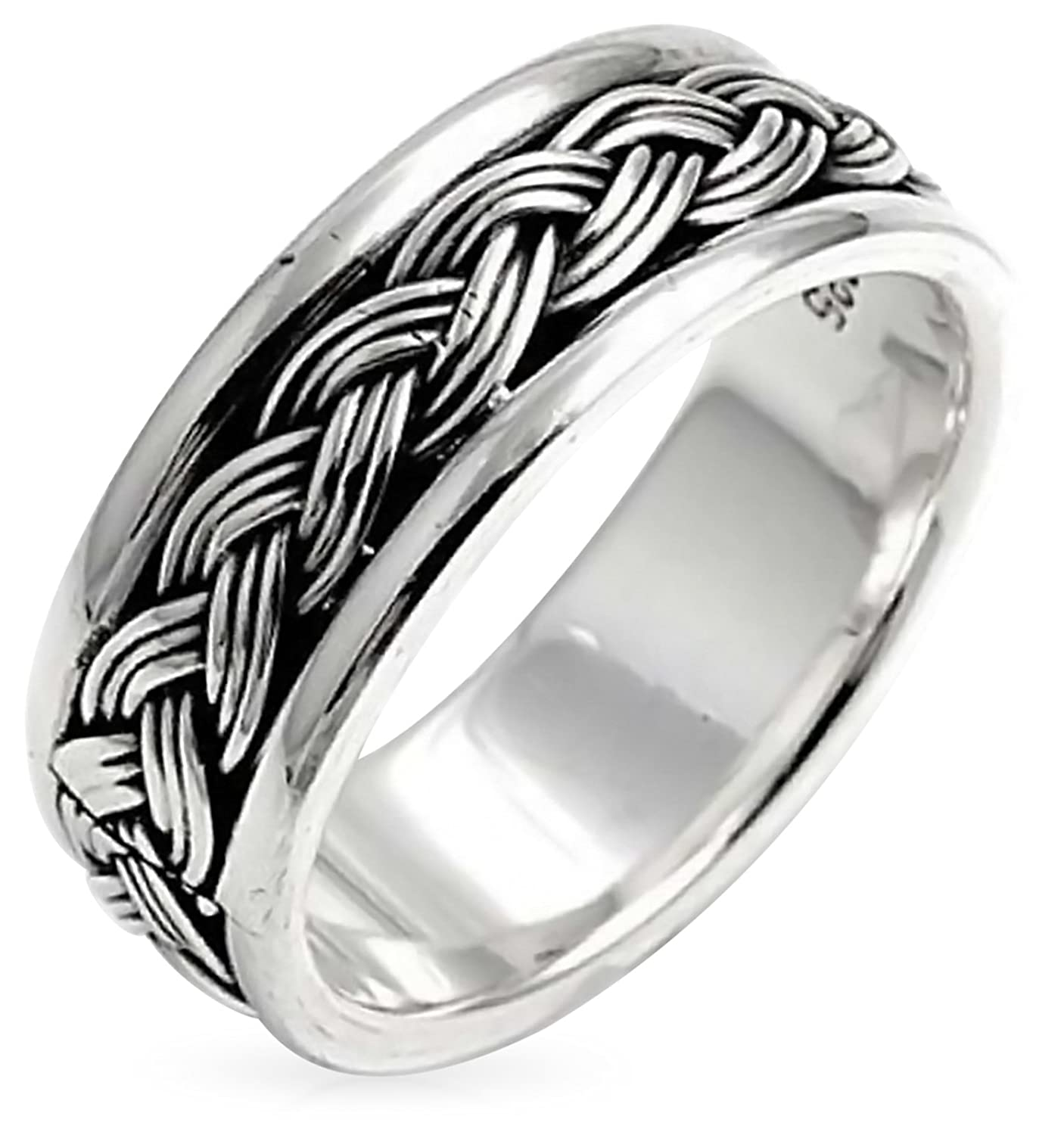 Bling Jewelry Men Sterling Silver Braided Band Ring Amazon