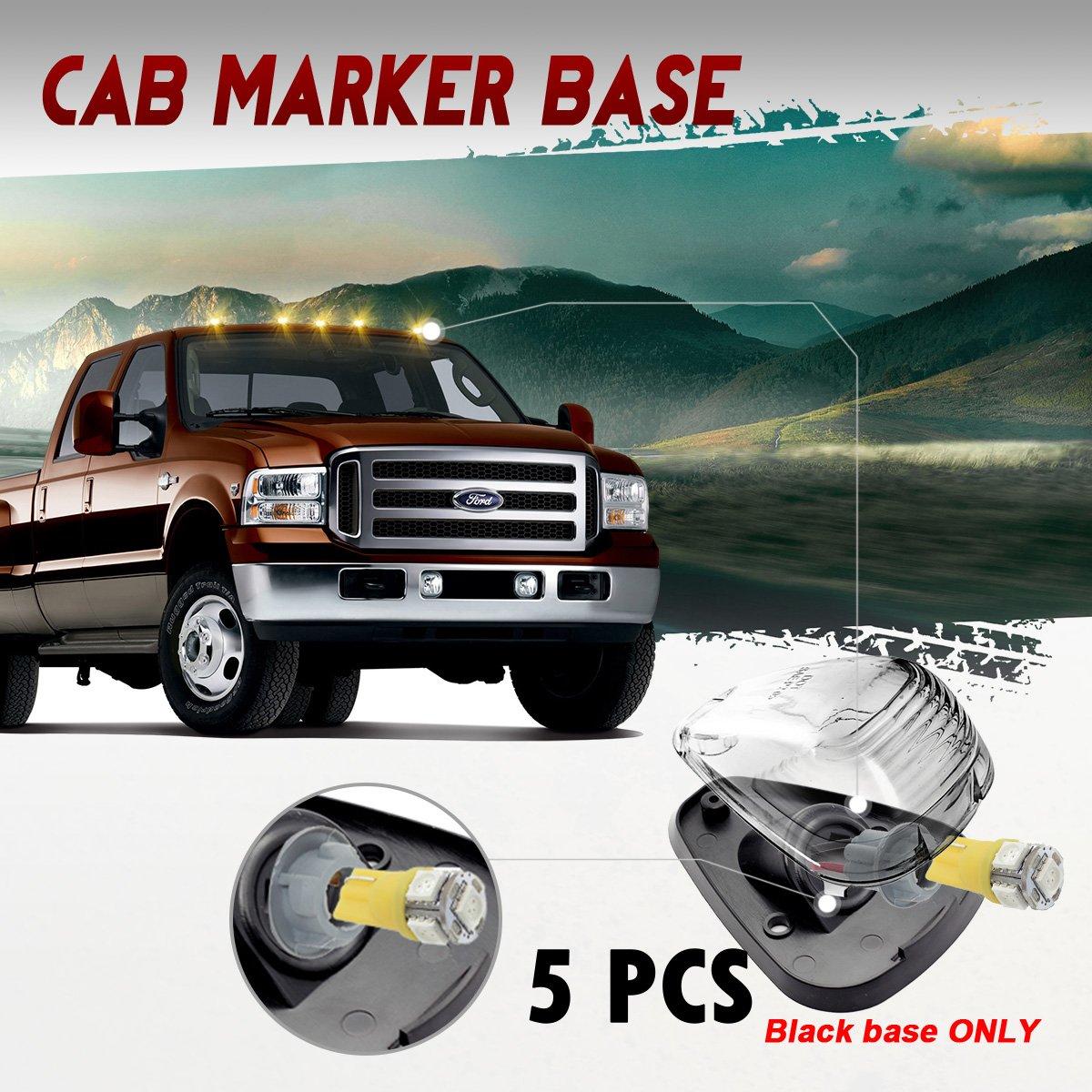 White LED for 1999-2016 Ford E//F Pickups 5Pcs Smoke Cab Roof Top Light Marker