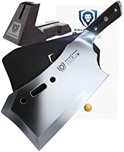 """DALSTRONG Gladiator Series R - Obliterator Meat Cleaver - 9"""" - with Stand and Sheath - Massive Heavy Duty - 7CR17MOV High Carbon Steel - 3lbs - 6mm Thick"""