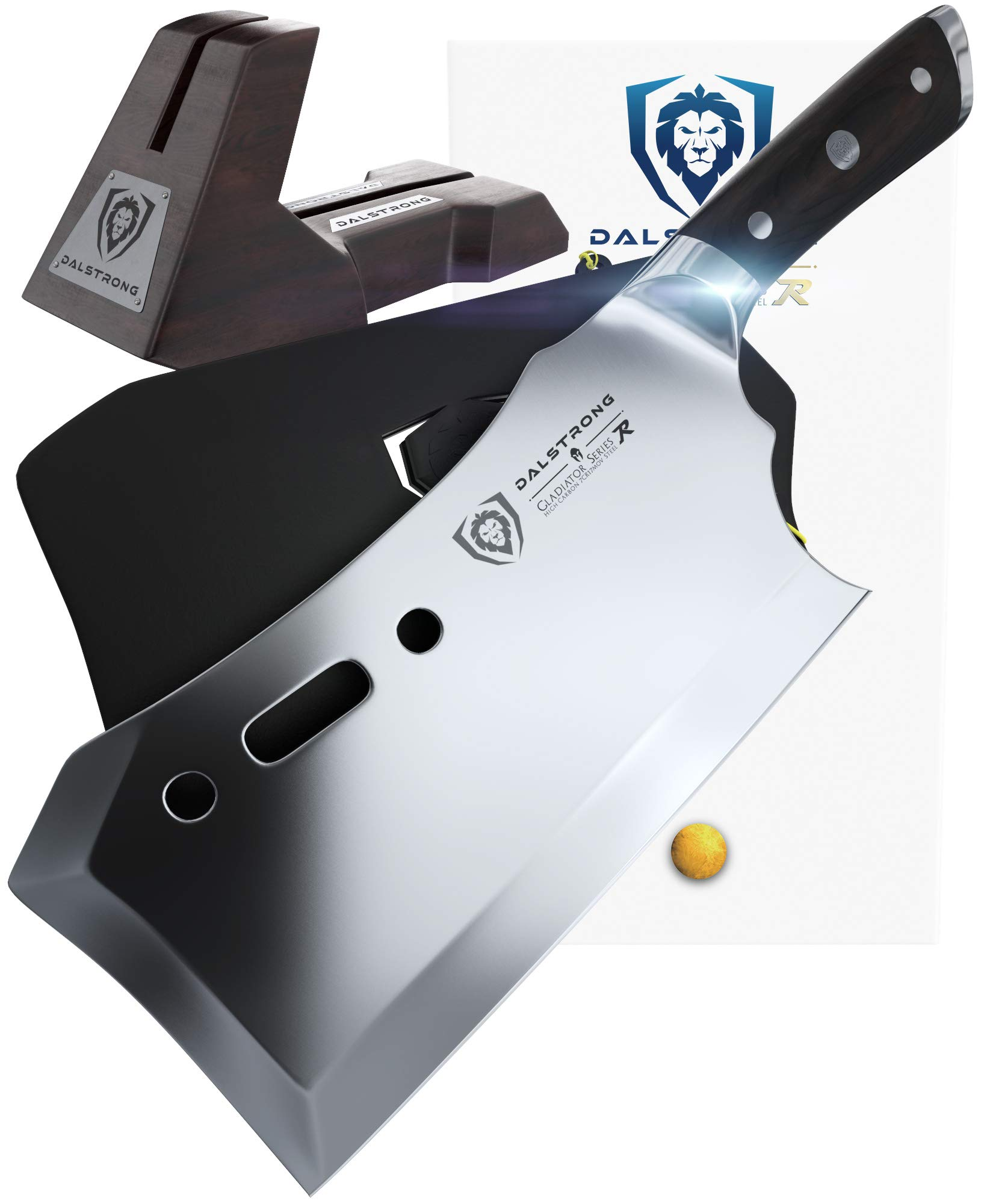 DALSTRONG Gladiator Series R - Obliterator Meat Cleaver - 9'' - with Stand and Sheath - Massive Heavy Duty - 7CR17MOV High Carbon Steel - 3lbs - 6mm Thick
