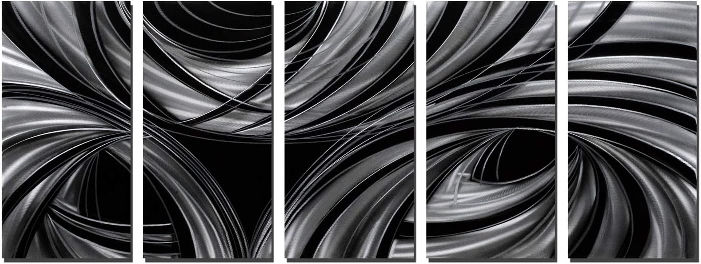 Black and White Metal Wall Art - Abstract Geometric Painting for Livingroom Guest Dinning Meeting Room Polished on White Silver Aluminum Panel Ready to Hang(24x64Inch)
