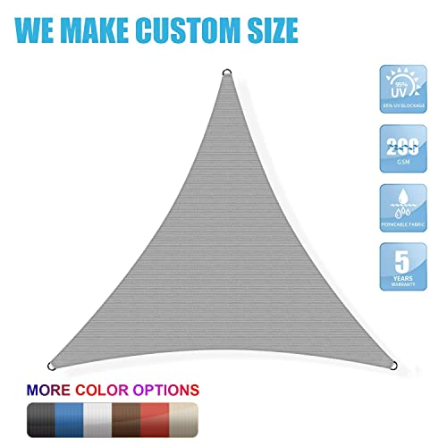 Amgo Custom Size Right Triangle 19 x 19 x 26.9 Grey Triangle Sun Shade Sail Canopy Awning, 95 UV Blockage, Water Air Permeable, Commercial and Residential Available for Custom Sizes