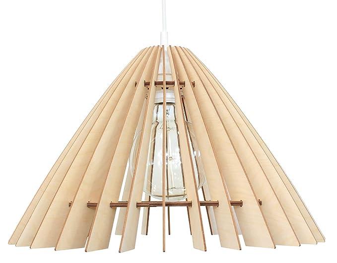 Plafoniere Per Lampade Led E27 : Wodewa lampada a sospensione legno i shade lampadario moderni