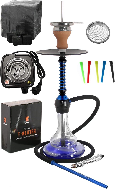 Kaya ELOX Eco 580 Twist Set con Cocina eléctrica carbón de cachimba boquillas Desechables Pinzas gestor de Calor (Blueground)
