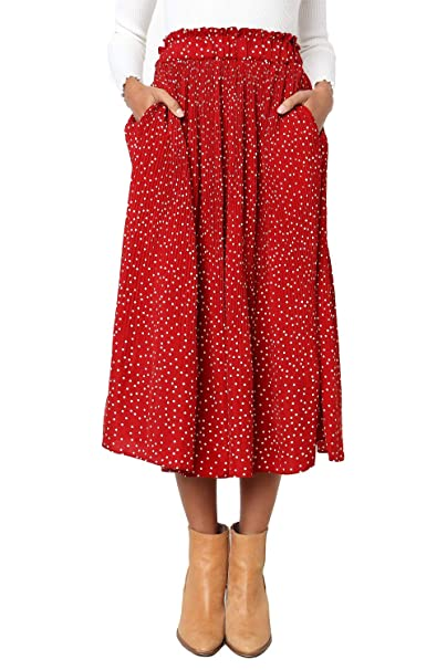 Womens Polka Dot Midi Pleated Length Skirts With Pockets Elastic Waist