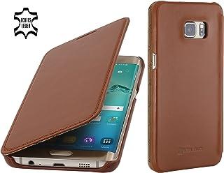 StilGut Book Type sans Clip, Housse en Cuir pour Samsung Galaxy S6 Edge+, en Cognac