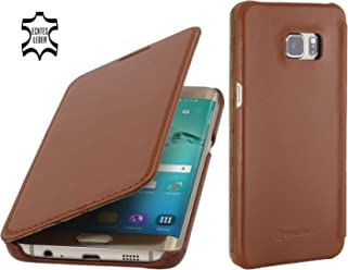 StilGut Book Type Case Senza Clip, Custodia in Vera Pelle per Samsung Galaxy S6 Edge+, Cognac