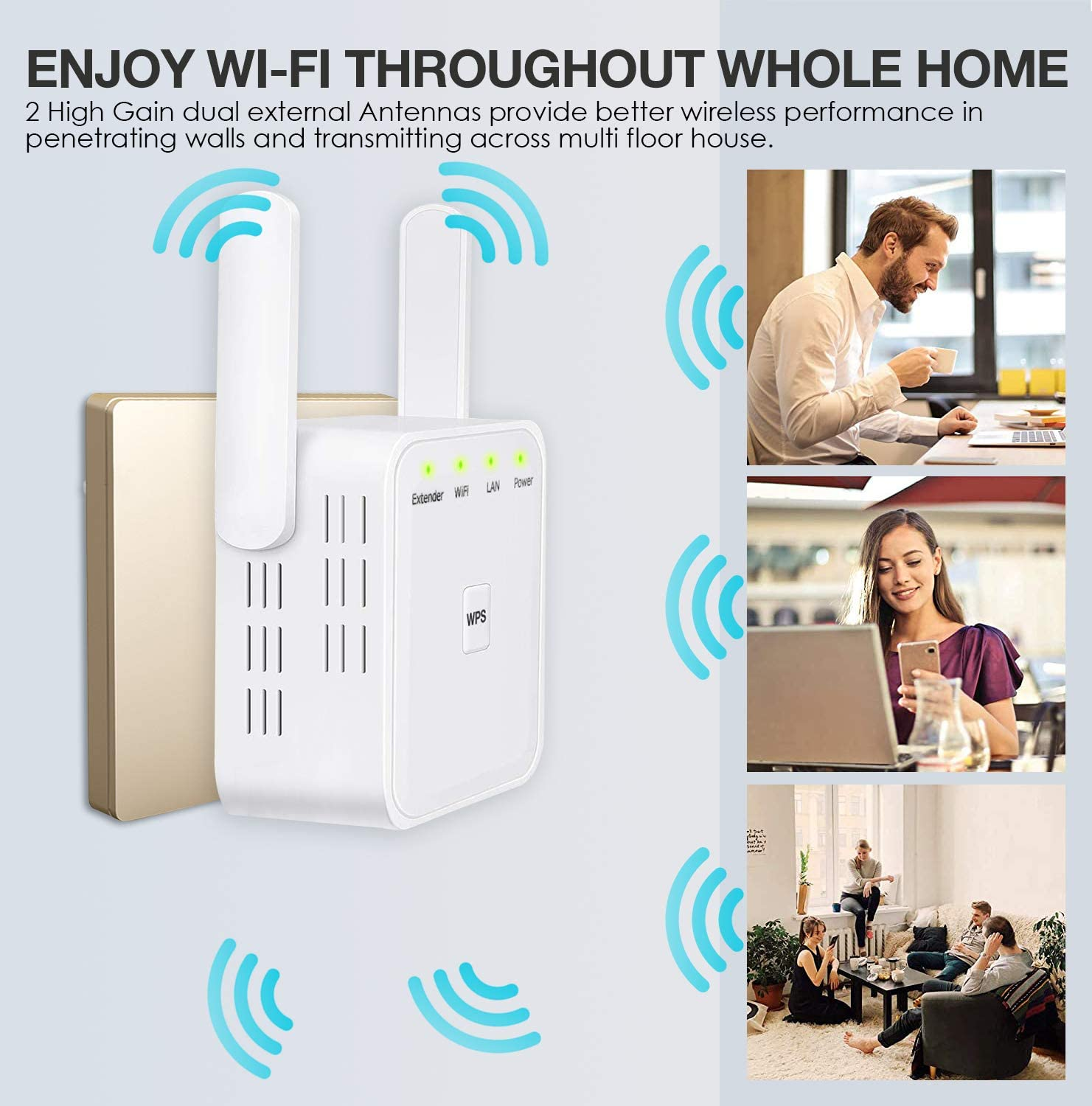 WPS&One-Click Setting WiFi Range Extender 300Mbps Wireless Signal ...
