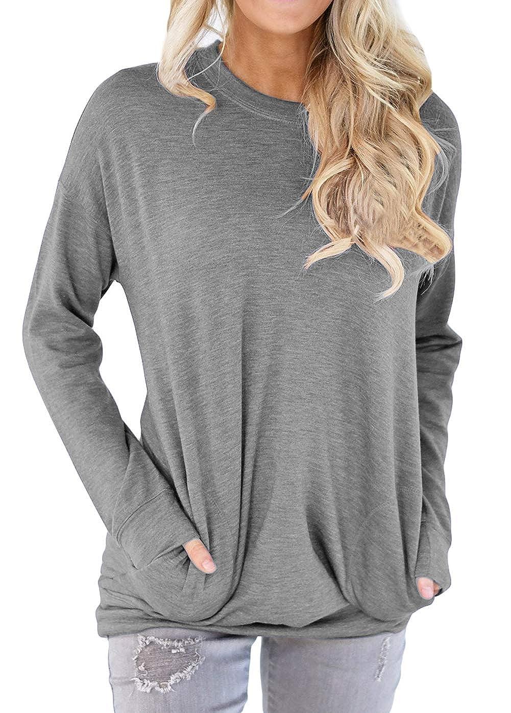 Shawhuwa Womens Casual Long Sleeve Tunic Tops Loose Blouse T Shirt