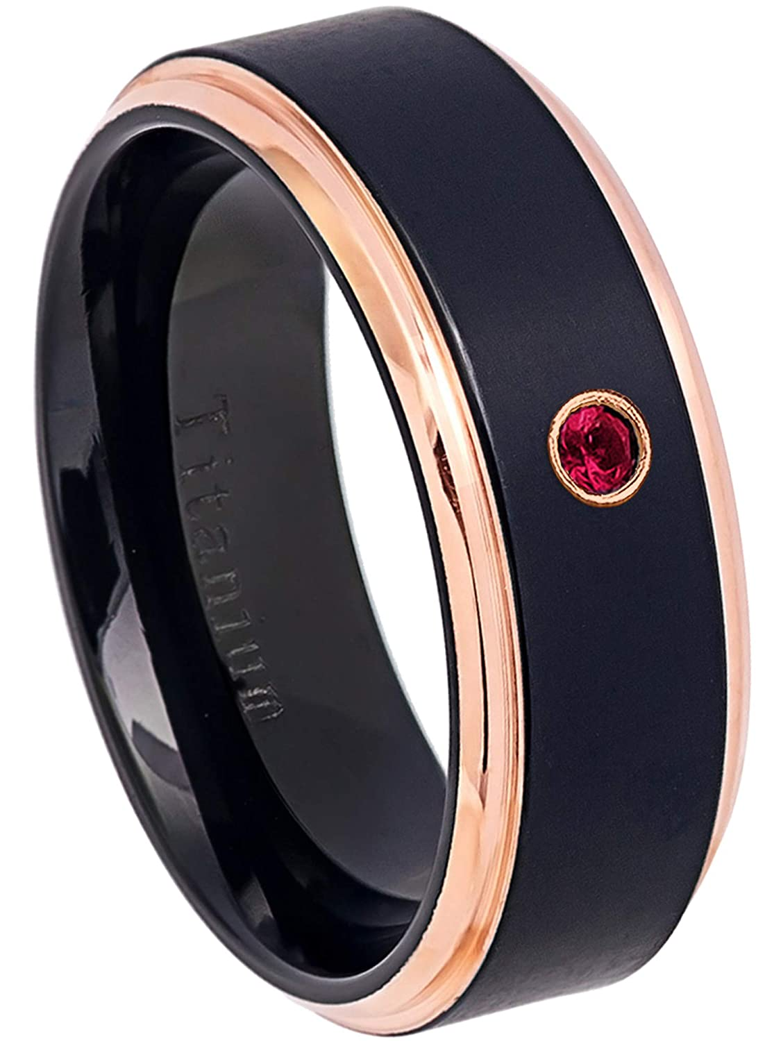 8MM Black Ion Plated /& Rose Gold Plated Stepped Edge Comfort Fit Wedding Band July Birthstone Ring 0.07ct Ruby Titanium Ring
