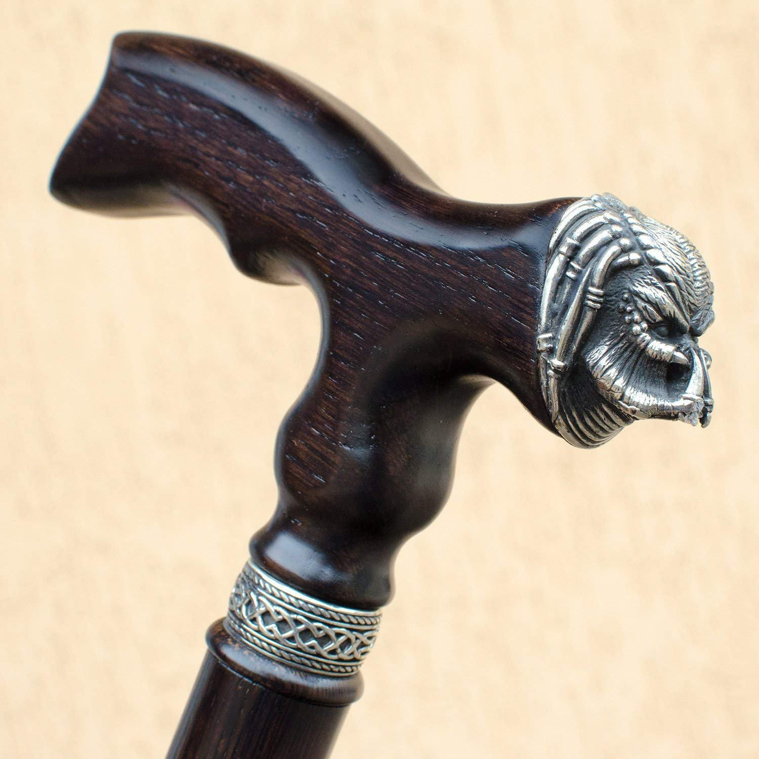 One of a Kind! Wooden Walking Stick - Handmade Cane with Unique PREDATOR Pommel - Custom Length 32-39 - Up to 400 Lbs - Ergonomic Handle - Available in 3 Colors - Natural Oak