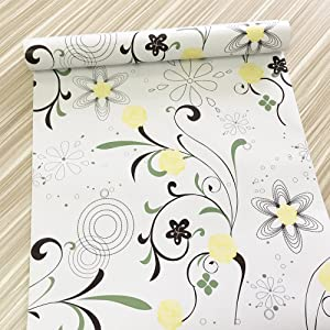 Yifely Yellow Blooms Furniture Paper Decorative Shelf Drawer Liner Self-Adhesive Storage Locker Decor 17.7 Inch by 9.8 Feet
