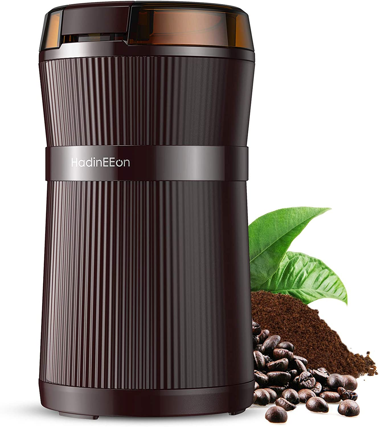 HadinEEon Electric Coffee Grinder, 200W Spice Grinder with Stainless Steel Blade & Bowl, One-Touch Control Coffee Bean Grinder for Nuts, Sugar, Grains, Clear Lid | Safety Switch | 50g | Brown