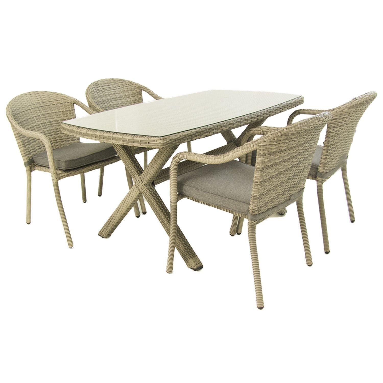 Conjunto de jardín | Mesa 140x80 cm y 4 sillones apilables | Aluminio y rattán sintético plano color gris | 4 plazas | Cristal templado 5 mm | Portes ...