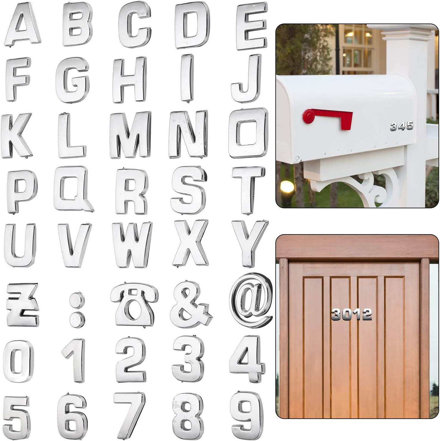 Outus 40 Pieces 3D Mailbox Number 0-9 Stickers and Letters Symbols Alphabet Self-Adhesive Mailbox Stickers House Metal Mailbox Address Street Stickers for Door Apartment Residence and Mailbox Signs