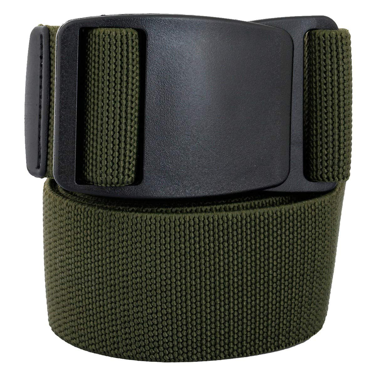 moonsix Tactical Belts for Men, Webbing Duty Military Belt with Plastic Buckle,Elastic,Army Green