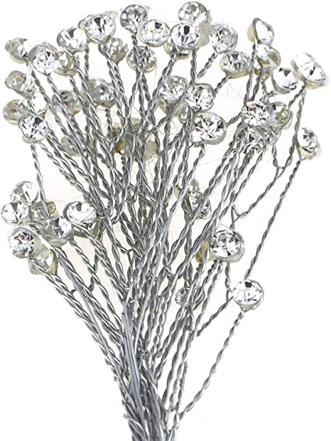 12 Wire Stem Crystal Bead Sprays Bridal Crafts  Wedding Flowers Floral Crafts