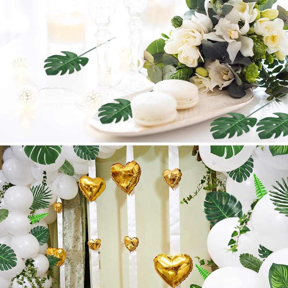 decoraci/ón tropical hawaiana Luau Auihiay 103 piezas 12 tipos de hojas de palmera tropical artificiales con tallos hojas tropicales decoraciones para fiestas de la selva decoraci/ón de bodas