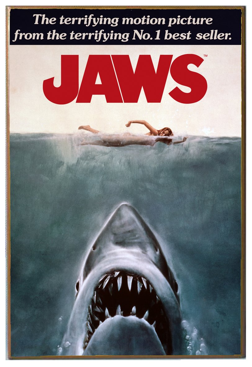 Silver Buffalo JW0136 Jaws Movie Poster Wood Wall Decor, 13 in. x 19 inches
