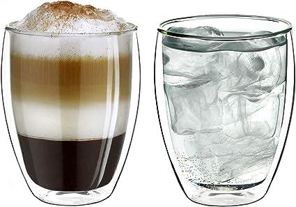 Lot de 2 grands verres /à double paroi en verre borosilicate 350 ml