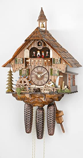 Alemán Reloj de cuco - estilo Chalet - mecanismo con cuerda para 8 días - 47 cm - Auténtico reloj de cuco del bosque negro - de Hekas: Amazon.es: Hogar