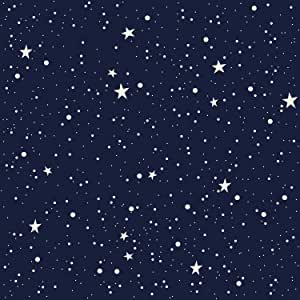 Amazon Com Amazing Wall Night Sky Moon And Stars Pattern Shiny Film Peel And Stick Self Adhesive Wallpaper 15 7x198inch Arts Crafts Sewing