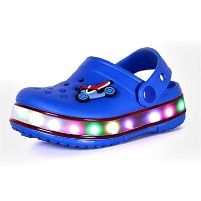Pilusooou Fashion Kids Girls Boys light up LED flashing flash shoe hole shoes garden shoes