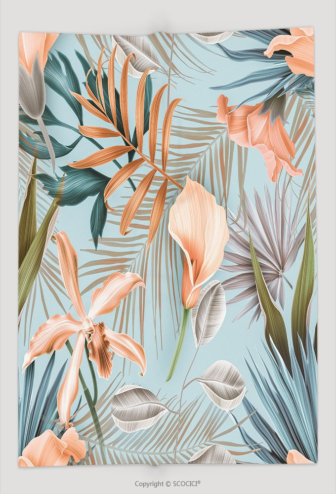 Custom Throw Blanket Seamless Tropical Flower Plant Pattern Background Hawaiian Californian Florida Summer Style 637124722 and Comfortable by vanfan