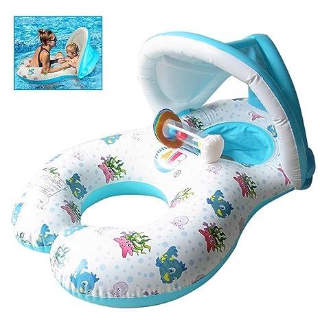 Flotador de Piscina para bebé,Flotadores Hinchables Para dos personas (Padres e hijos),asiento Flotante para bebé de Seguridad,Piscina hinchable ...