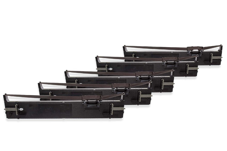 vhbw 5X Nylon Cinta de Tinta de Nylon 5X para Impresora matricial Epson LQ-680, LQ-680K, LQ-690, LQ-690K, LQ680, LQ680K-II, LQ690 como C13S015610, S015610. a700fa