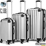Lot de 3 valises renforcées set de voyage - 3 valises verrou - Gris titan